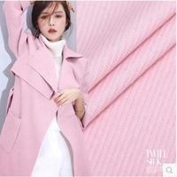 Plain Weave Wool Fabric Autumn And Winter Clothing Fabrics Pink 552grams Per Meter