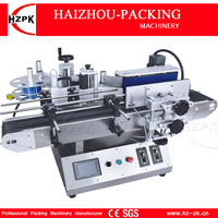 HZPK Small Automatic Round Bottle Labeling Machine Tabletop Type Labeler Food Make up Wine Plastic Bottle Labeling Deskatop Type