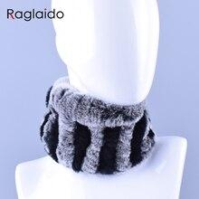 Raglaido натуральный мех кольцо шарф кролика Рекс Женские Шарфы повязки на голову натуральный мех шеи теплые зимние мягкие воротники LQ07020