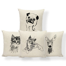 Dog Cat Pug Cushion Covers Deer Flamingo Boston Terrier Pillow Modern Art Bed For Teens Throw Pillow Cover 17.7Inch Cotton Blend(China)