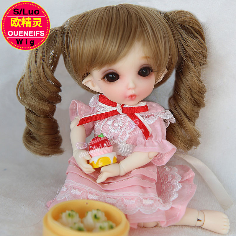 OUENEIFS bjd sd doll wig size 5-6 inch 1/8 high-temperature wig doll Wig in beauty and health with bangs Curly hair L29 new 1 3 bjd wig short straight hair doll diy high temperature wire for 1 3 dd bjd sd dollfie curly restoring ancient way