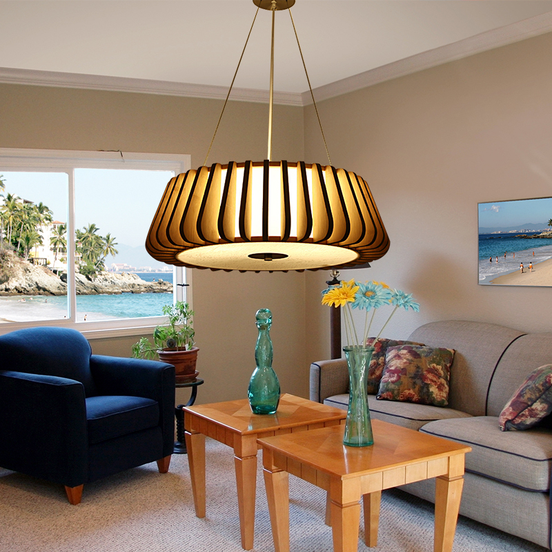 Modern New Chinese Wooden Pendant Lights Living Room