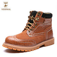 VESONAL Quality Winte Warm Casual Men Boots Male Shoes Genuine Leather Brand 2017 Designer Ankle Snow
