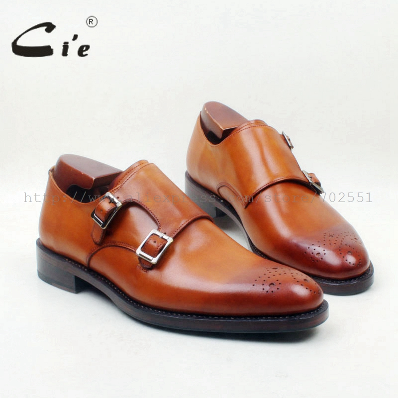 cie Round Toe Cut-outs Hand-Painted Brown Custom Single Monk Straps 100% Genuine Calf Leather Men Shoe Beathable Handmade MS144 cie round toe wing tips single monk straps hand painted brown 100%genuine calf leather breathable bottom outsole men shoems129