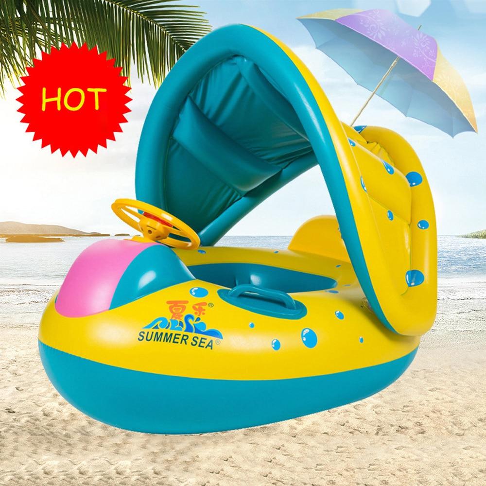 Baby Kids Summer Swimming Pool Swimming Ring Inflatable Swan Swim Float Water Fun Pool Toys Swim Ring Seat Boat Water Sport