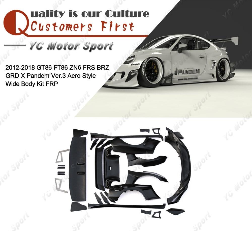 FRP Fiber Glass PD Ver.3 Aero Style Body Kit Fit For 2012 2018 GT86 FT86 ZN6 FRS BRZ Bumper Lip Fender Diffuser Spoiler Wing