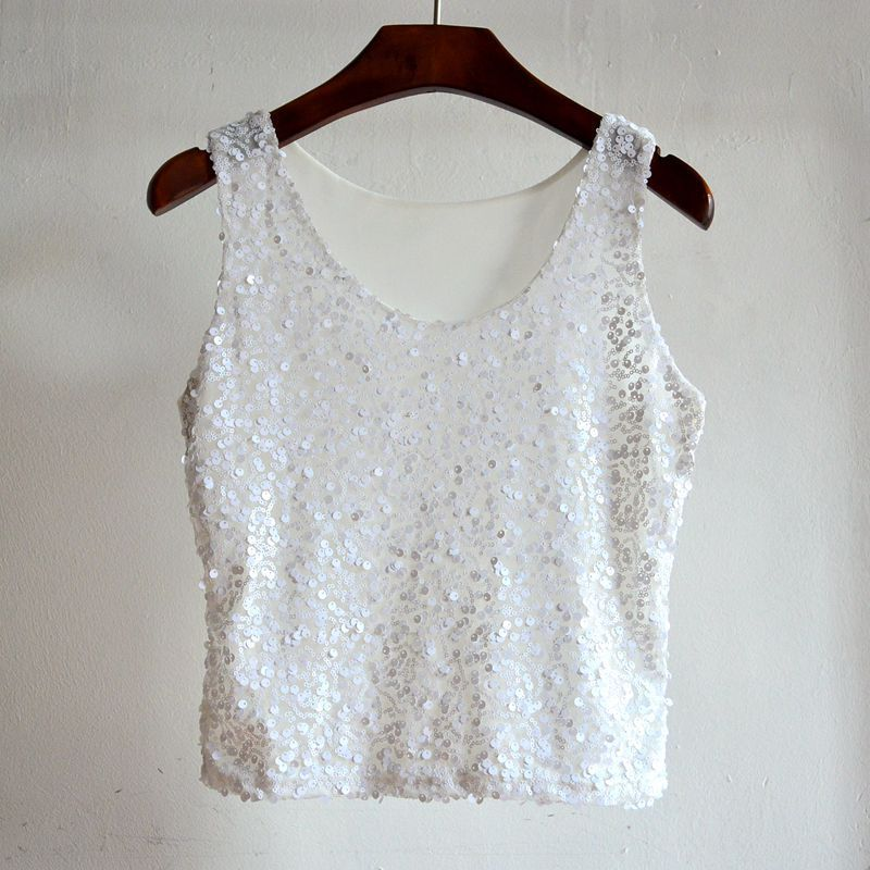 MUXU white sequin top summer tank top women clothing glitter haut femme streetwear sleeveless bustier cropped woman halter top