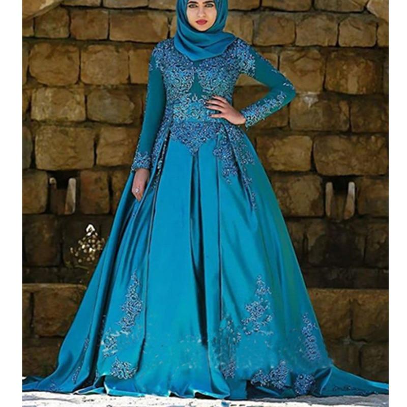 Teal Blue Muslim Ball Gown Wedding Dress New Spring Bridal Vestidos ...