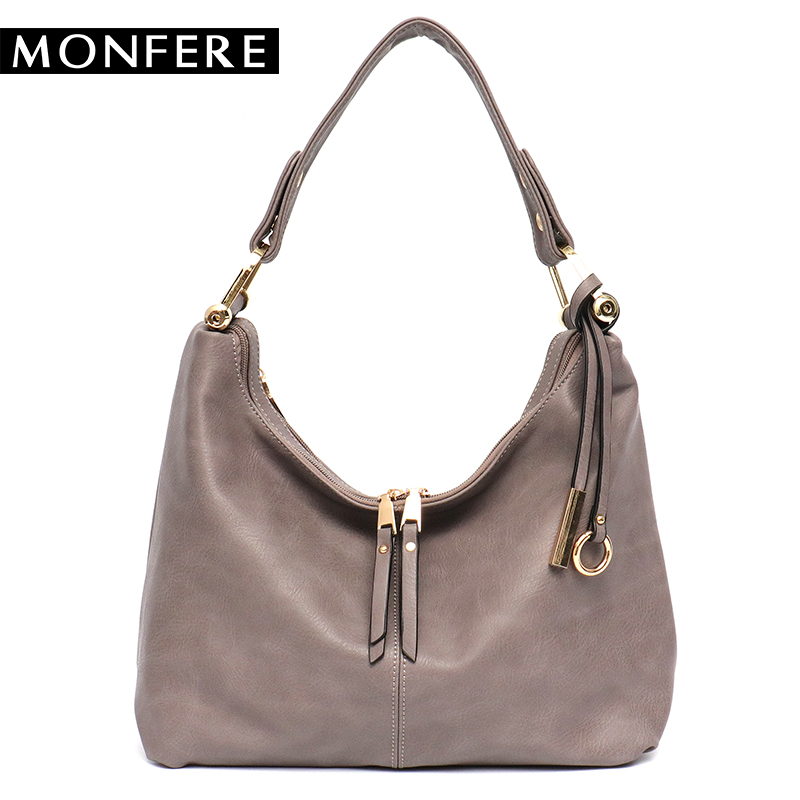 MONFERE leisure women hobo bag female faux vegan leather top-handle shoulder&messenger bags for girls crossbody handbag 2 zipper genuine leather cross body top handle bags embossed natural skin hobo vintage female women messenger shoulder tote handbag