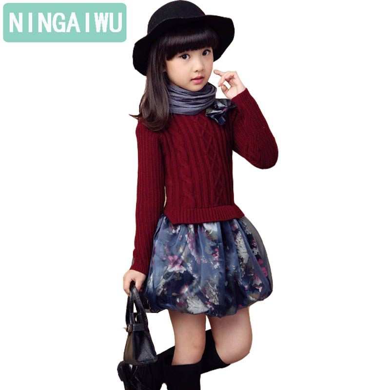 Children's wear autumn dress girl kids fashion embroidered sweater dresses for 5 6 7 8 10 12 13 years children's spring clothing электрический накопительный водонагреватель polaris pg 15 or