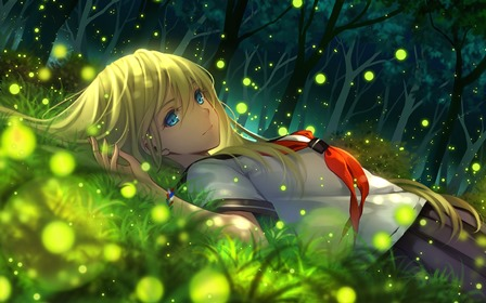 Anime Girls Mood Artwork Blonde Everlasting Summer Cute Night Living