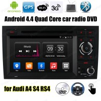 Android4.4 Car DVD 7 inch FM AM radio Support BT 3G WiFi DVR DAB + Screen Mirroring OBDII TPMS GPS DVR For A/udi A4 S4 RS4