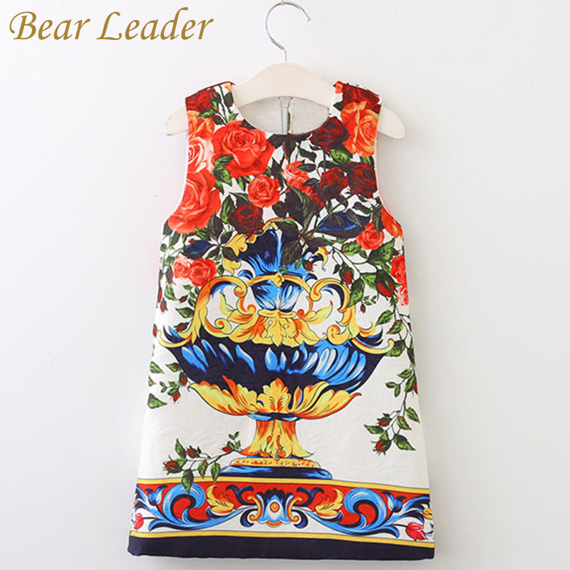 Bear Leader Girls Dress 2017 Brand Design for Princess Sleeveless European and American Flowers Printing for Girls Clothes 3-8Y bear leader girls dress 2016 brand princess dress kids clothes sleeveless red rose print design for grils more style clothes