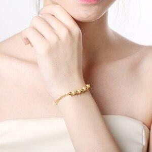 Image 5 - XXX BBB 24k Gold Bracelet Pure Yellow Genuine AU999 Bangle Fine Wedding Engagement fine Jewelry Women Beads Chain New  Hot Sale