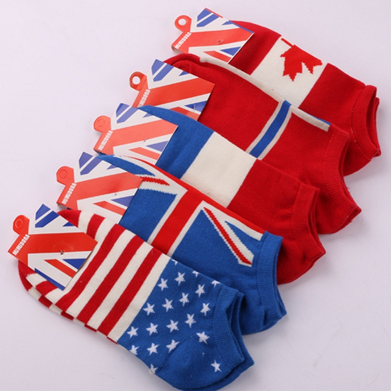 2017 spring summer World Cup Flag pattern style cotton men socks brand Mens socks women socks boat socks 4 pairs / lot