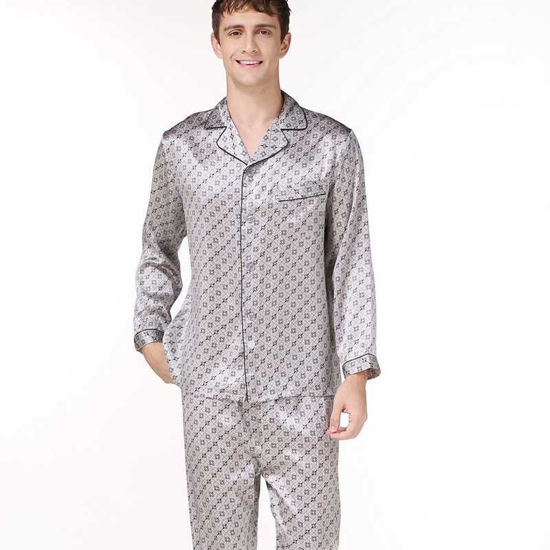 Fashion Spring 100% Real Silk Pajamas For Men Sleepwear Long Sleeve Printing Male Pyjama Sets Men Simple Elegant Pajamas Men