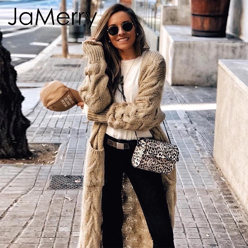 JaMerry Vintage Winter Mohair Long Cardigan Knitted Sweater Women Long Sleeve Female Jumper Cardigan Casual Streetwear Femme