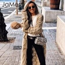 JaMerry ヴィンテージ冬モヘアロングカーディガンニットセーター女性長袖女性ジャンパーカーディガンカジュアルストリートファム