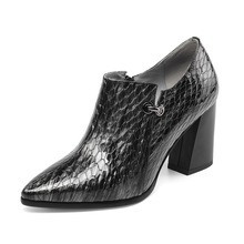 Elegant luxury brand snake decorative women high heels simple fashion pointed thick with leather deep mouth single shoes ladies brand name first layer cowhide deep mouth women s shoes thick with leather women shoes british rhinestone high heels women
