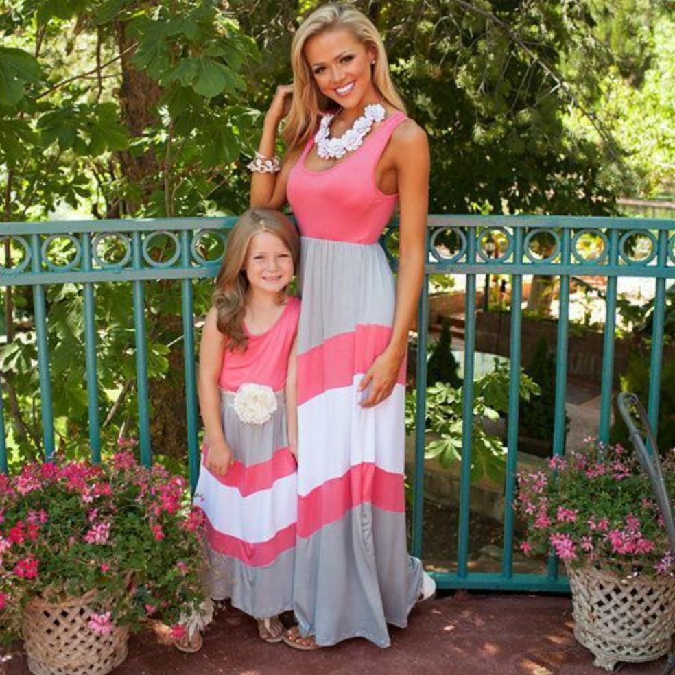 1pc Family Dress Mother Daughter Striped Floral Ankle Length Family Look Matching Clothes Mom And Daughter