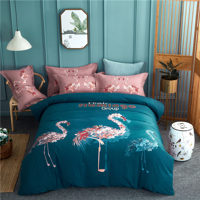 New Bedding Sets 4pcs Flamingo Pattern Bed Linings Duvet Cover Bed Sheet Pillowcases cotton Cover SetNew Bedding Sets 4pcs Flamingo Pattern Bed Linings Duvet Cover Bed Sheet Pillowcases cotton Cover Set