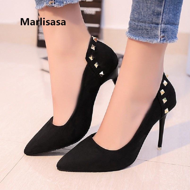 Marlisasa Vrouwen Hoge Hakken Women Cute Black Light Weight Rivet High Heel Pumps Lady Grey Comfortable High Heel Shoes F2926