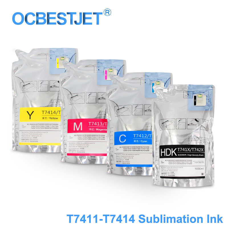 1000 Ml T7411 T7414 T741X Tinta Paket Dye Sublimasi Tinta Pack untuk SureColor F6000 F6070 F6200 F6270 F7000 F7200 f7270 F9200