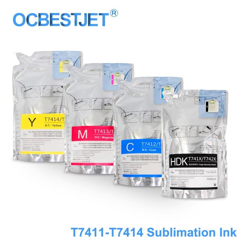 Embala o Bloco da Tinta da Sublimação da Tintura para Epson a Tinta de 1000 Surecolor F6000 F6070 F6200 F6270 F7000 F7200 F7270 F9200 ml T7411 T7414 T741x
