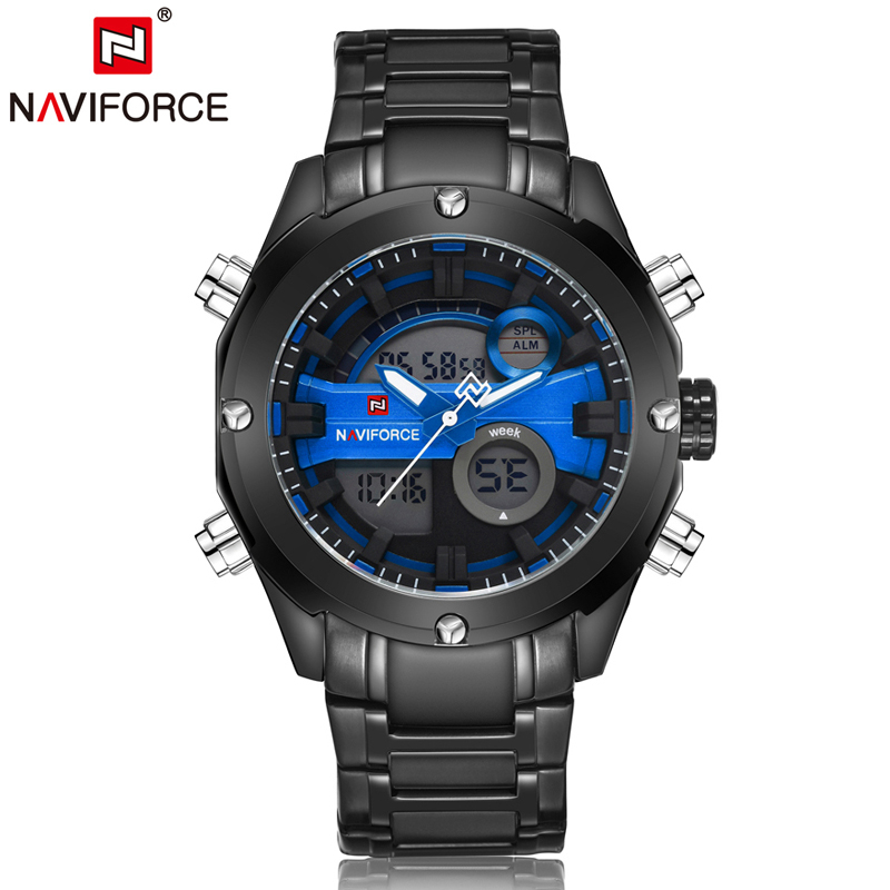 Naviforce Luxury Watch Men Quartz Stainless Steel Sports Watches Analog Digital Alarm Auto Date Waterproof Wristwatches LX71 top brand luxury digital led analog date alarm stainless steel white dial wrist shark sport watch quartz men for gift sh004