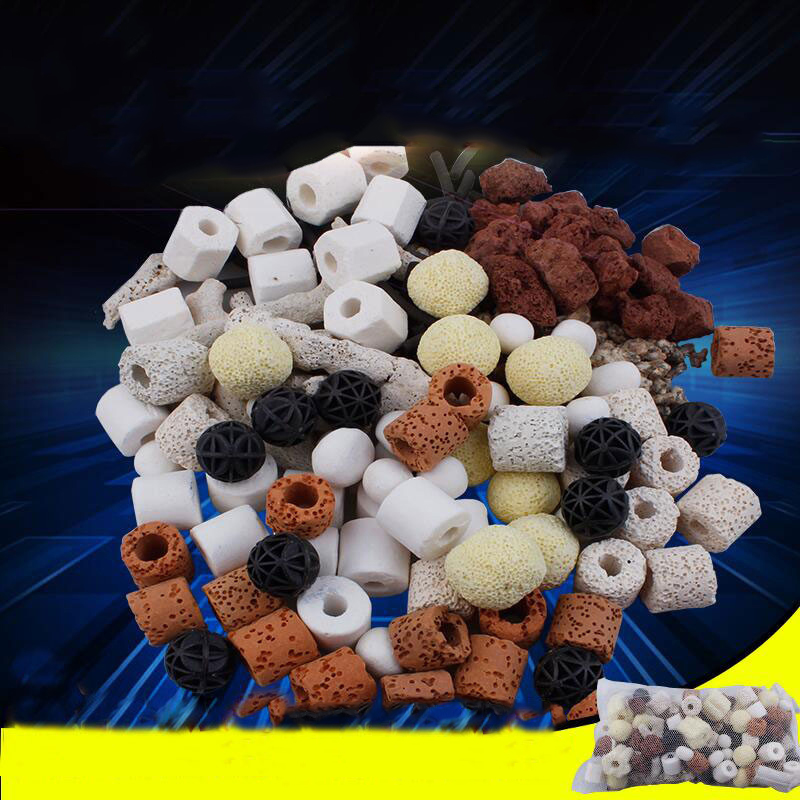 100g /150g Aquarium Fish Tank Filter Media Ceramic Rings Activated Carbon Bio Balls Clear Water With Free Filter Net Bag