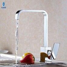 Ulgksd Chrome кухонная раковина кран водопад воды на выходе 360 Вращение кухонный кран Бортике горячей или холодной воды смесители