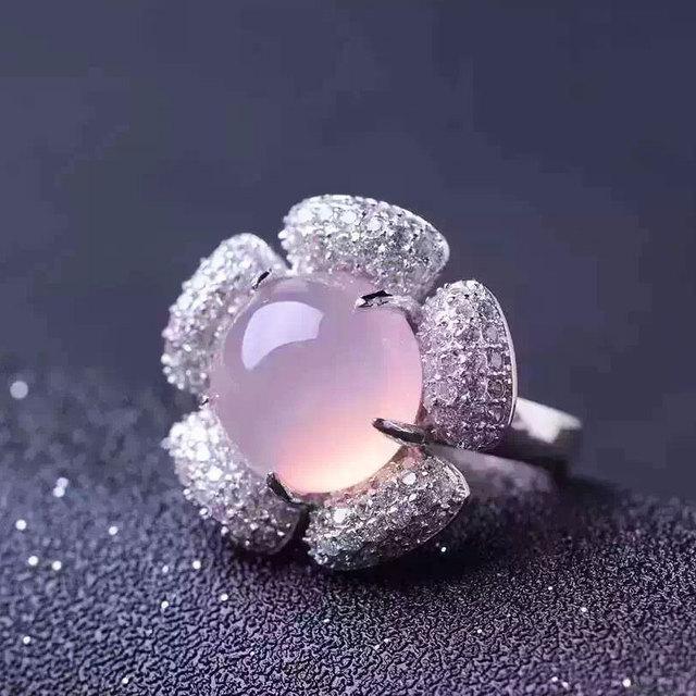 Genuino Natural pink calcedonia piedra anillo de plata de ley 925 Mujer Señora gema de La Joyería de la Señora anillos de La Flor