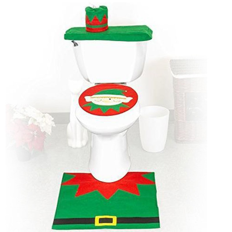 3 Pieces SetNew Year Best Gift Merry Christmas Elf Toilet Seat Cover Rug Bathroom Set Decorations Free Shipping In Covers From