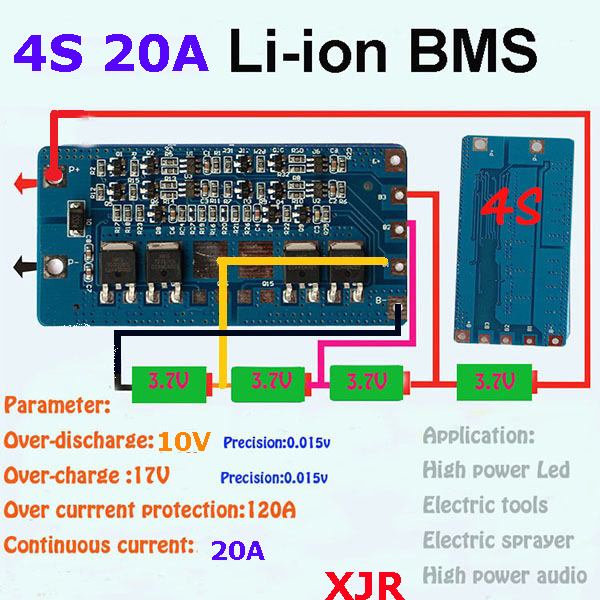 2PCSa lot 4S 20A lipo lithium Polymer BMSPCMPCB battery
