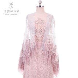 Image 2 - Straight Column Beading Illusion Bodice Detail Lace Appliques Shoulder Cap Feather Edge Big Long Train Pink Evening Dress 2018