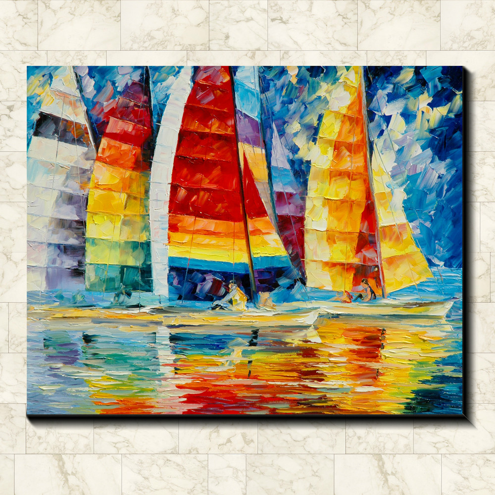 Full Colour The Sailboat Painting Pictures Abstract Art Print On The Canvas Canvas Painting Prints Wall Home Decor Poster Poster Sand Decor Posterposters Of The Sea Aliexpress