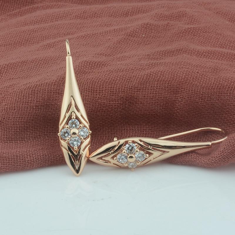 FJ Women 585 Rose Gold Color Four Crystal Rhombus Pattern Dangle Earrings