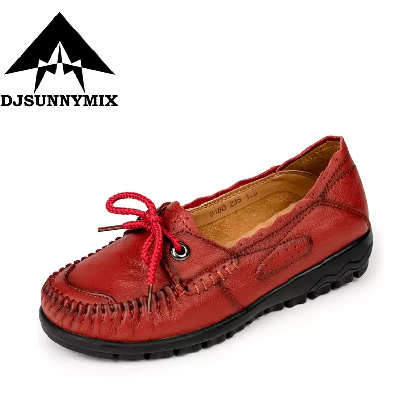 DJSUNNYMIX New Handmade Genuine Leather Shoes Women Retro Soft comfortable Flat Shoes lace-up non-slip mom shoes size 35-41 fashion brand genuine leather shoes for women casual mother loafers soft and comfortable oxfords lace up non slip flat moccasins