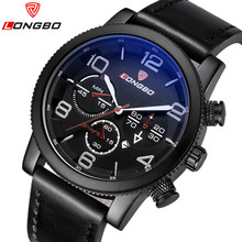 Top LONGBO Brand Luxury Men Casual Quartz Watch Men Leather Date Clock Sports Watches Men Military Wrist Watch Relogio Masculino