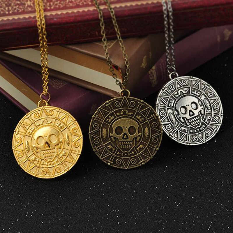 GHRQX  Hot Pirates Of The Caribbean Necklace Jack Sparrow Aztec Coin Medallion Vintage Gold Bronze Silver Pendant  Wholesale