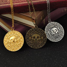 GHRQX Hot Pirates Of The Caribbean Necklace Jack Sparrow Aztec Coin Medallion Vintage Gold Bronze Silver Pendant Wholesale(China)