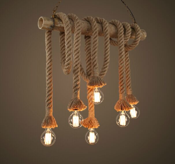 Vintage Rope Pendant Light Lamp Loft Creative Personality Industrial Retro Lamp Edison Bulb American Style For Living Room