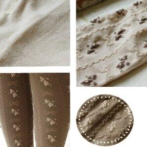 Image 4 - Primavera outono mori menina feminino elástico algodão lolita meias pequeno jacquard arco rústico macacão macio elástico elegante meias d105