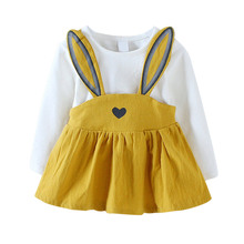 0-3 Years Old Baby Girls Dress 2017 New Autumn Fashion Style Cute Rabbit Children Cotton Clothing Infant Girls Dresses FJ88