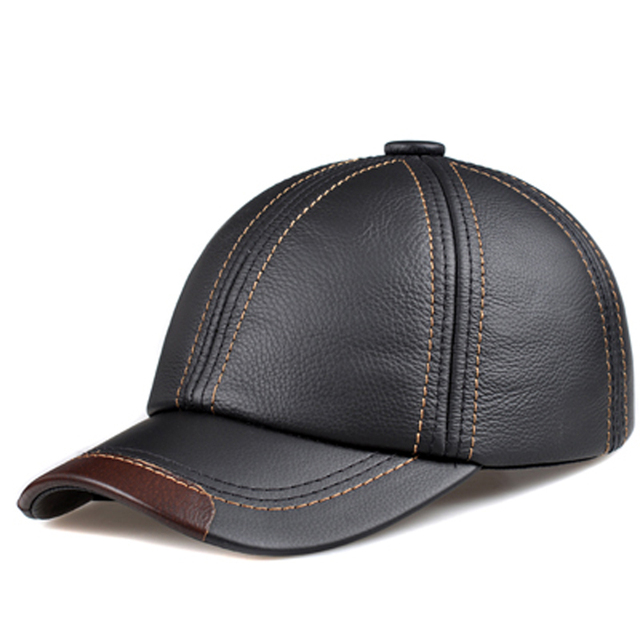 RY123 Male Genuine Leather 56-60 cm Adjustable Designer Polo Sombrero Black  Brown Snapback dd076072862