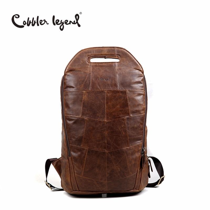 Cobbler Legend 2019 Men Cowhide Genuine Leather Fashion Vintage Backpacks Large Capacity Shoulder Travelling Bag For