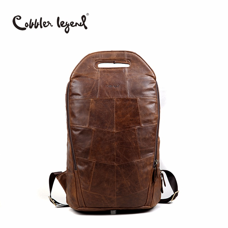 Cobbler Legend Men Cowhide Genuine Leather Fashion Vintage Backpacks Large Capacity Shoulder Travelling Bag For Teenage
