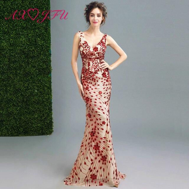 newest 0be00 e9a95 US $85.88 |AXJFU curve Sexy di pizzo rosso vestito da sera di lusso rosso  che borda borchie vestito da sera fiore rosso fishtail abiti da sera in ...