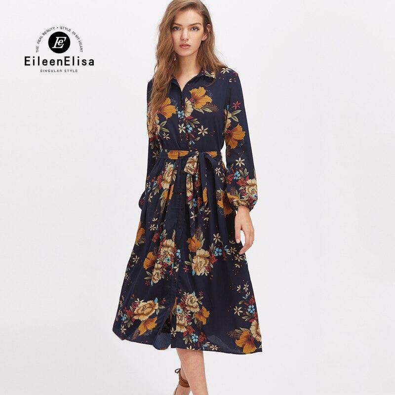 Women Long Dress Chiffon Long Sleeve Dresses Women 2017 Fashion Print Floral Maxi Dress Autumn