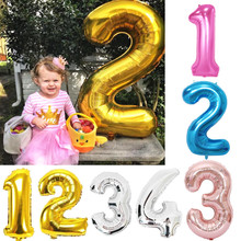 30/32/40 Inches Gold Silver Pink Blue Number Foil Balloons Champagne Digit Balloons Kids Adult Birthday Party Wedding Decoration